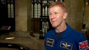 Tim Peake's spacecraft on display at Peterborough Cathedral