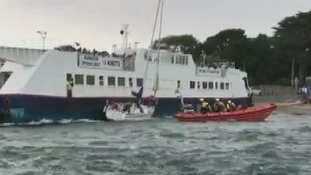 Video: Tricky rescue after relentless tide pins yacht to car ferry