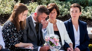 The family of Julie Ann Hughes were among those at the service at the Memorial Gardens in Omagh.