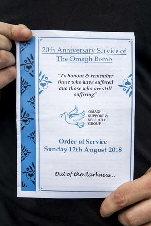 Order of Service pamphlet for the service at the Memorial Gardens