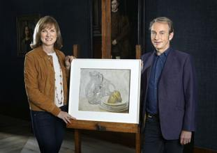 Fiona Bruce and Philip Mould with Glass Jug with Plates and Pears, attributed to William Nicholson
