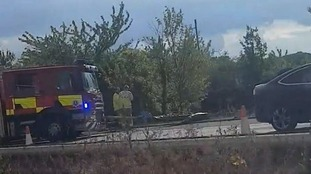 Coach overturns on the M25 in Kent