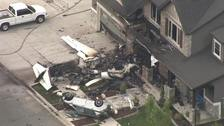 The scene of a small plane that crashed into a house in Payson, Utah.