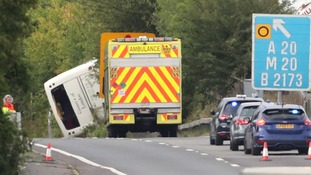 The coach overturned on the m25 near Swanley in Kent.