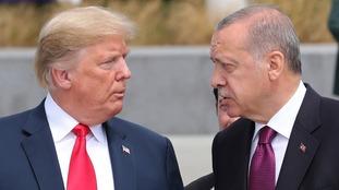 Turkey's President Recep Tayyip Erdogan accuses US of 'stab in the back' as currency crisis worsens