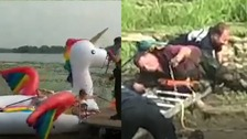 Is it harder to rescue an inflatable unicorn or a stranded parrot?