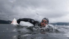 Swimmer sets new world record for longest staged sea swim
