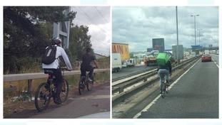 Three cyclists on motorways