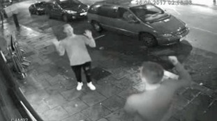 CCTV footage shows Ali waving a bottle.