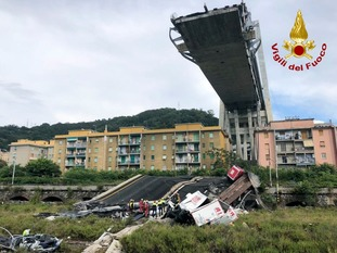 Some 20 vehicles plunged into a void after a 200-metre section of the Morandi Bridge.