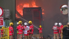 Huge fire at recycling plant in Salford
