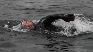 Ross swims with a smile on his face for 12 hours a day.