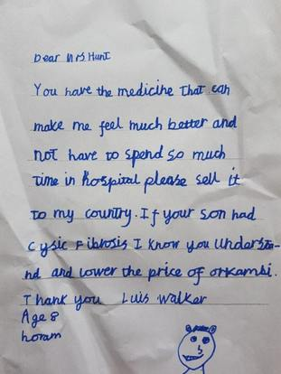 Luis has penned a handwritten letter to Vertex Pharmaceuticals