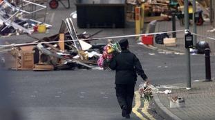 Scenes of destruction following the blast.