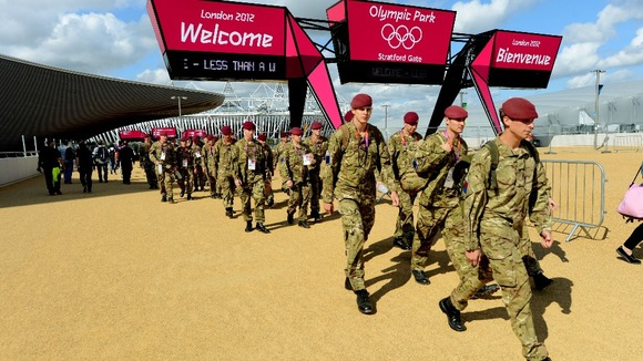British Army personnel patrol the Olympic Park in Stratford during the London 2012 Games.