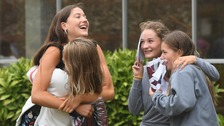Nikolina Boldero, Frances Evans, Matilda Warde-Aldam and Emily Gilbert celebrate their A Level results at Norwich School