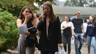 Evie Bateman (left) and Charlotte Long celebrate their A Level results at Norwich School
