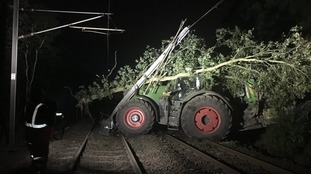 The tractor on the tracks