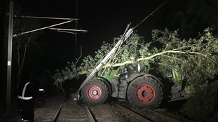 A tractor crashed into a railway line last night