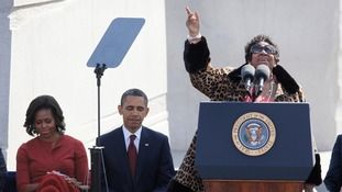 Aretha sings beside then US President Barack Obama and First Lady Michelle Obama in 2011