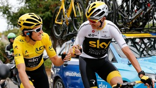 Geraint Thomas and Chris Froome toast their success in the Tour de France 2018.