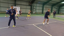 Ipswich Town players swap the pitch for the court