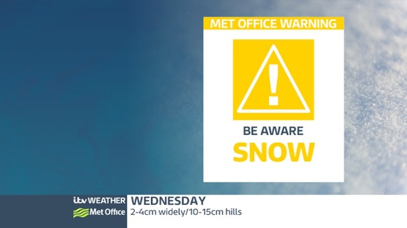 Snow weather warning for the region