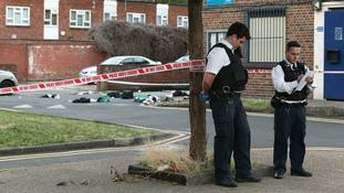 Four young men were stabbed on a south London housing estate.