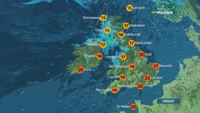 Weather: Windy in north with outbreaks of rain, sunny in south