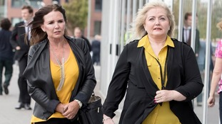 Linda and Maureen Nolan arrive at the New York Stadium in Rotherham.
