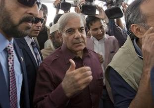 Shahbaz Sharif arrives at the National Assembly in Islamabad