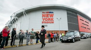 Barry Chuckle fans lined up outside his beloved Rotherham United's football stadium.