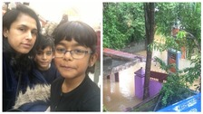 Jeeja Matthews and her children, and scenes of flooding outside her home.