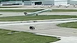Van takes shortcut for barbecue and narrowly misses passenger jet
