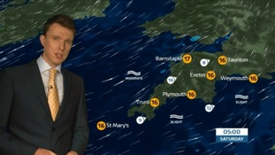 A showery but mild night ahead in the South West