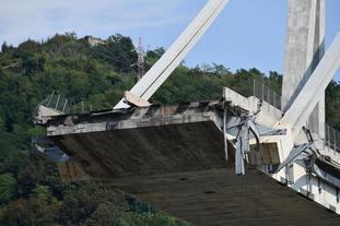 The collapsed Morandi motorway bridge.