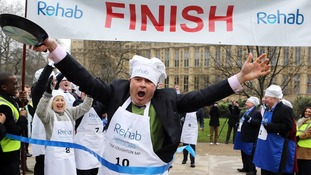 MPs triumphant at Parliamentary Pancake Race