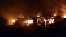 The fire at the former Pontins holiday camp in Hemsby