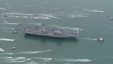 HMS Queen Elizabeth sets sail from Portsmouth for US visit