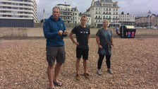 Record-breaking long-distance swimmer joins beach clean