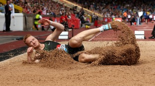 Greg Rutherford in his final competition in Birmingham