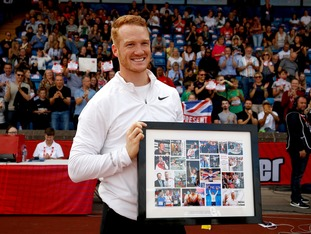 Greg Rutherford was presented with a montage of some of his best moments