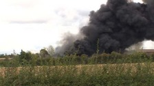 Crews attending a fire at Hathernware Industrial Estate.