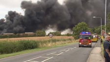 Crews attending a fire at an industrial estate in Nottinghamshire