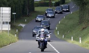 Vladimir Putin arrives for the wedding of Karin Kneissl and Wolfgang Meilinger