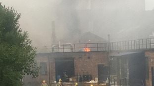 At its peak, more than 25 firefighters tackled the blaze at the Emma Bridgewater Factory in Stoke-on-Trent.