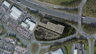 Aerial view of new retail park plans