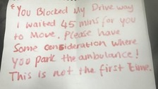 Angry note left on ambulance responding to emergency