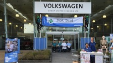 Activists blocked the doors of VW's HQ in Milton Keynes