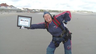80 year old jumps out of a plane for charity